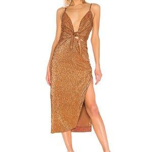 House of Harlow gold 70s midi dress